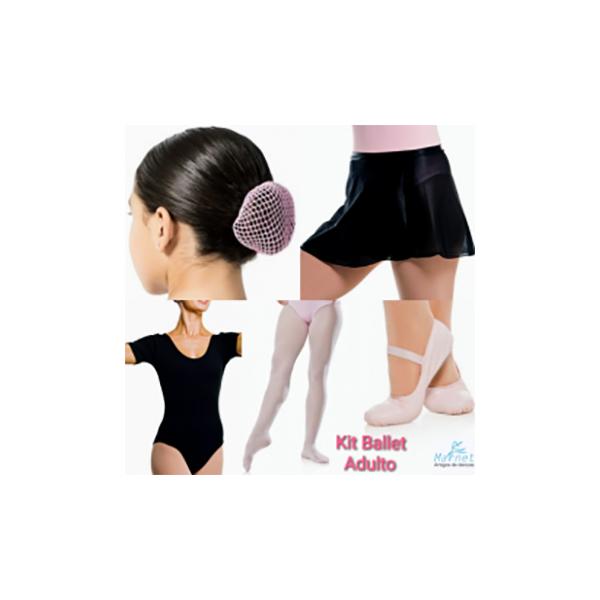 644686d1d2 Kit Ballet Adulto - Collant Meia Manga - 5 Peças - Marnet - Artigos de  Danças