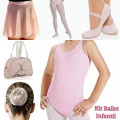 81311cf12f Kit Ballet Infantil – Collant Regata – 6 Peças – Cor Rosa – Marnet ...